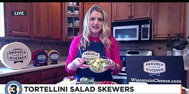 Wisconsin Cheese Recipes:  Tortellini Salad Skewers